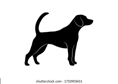 Standing dog silhouette isolated on white background. Vector illustration