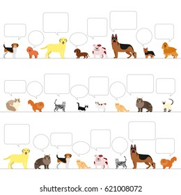 standing dogs and cats with speech bubbles border set