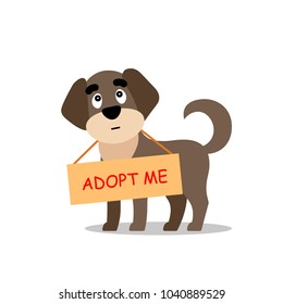 Standing dogs with a poster Adopt me. Dont buy - help the homeless animals find a home, sad puppy - vector illustration