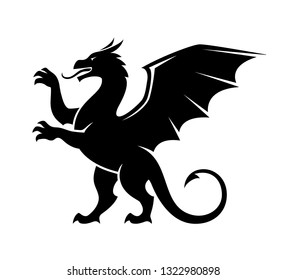 Standing dragon silhouette illustration. Heraldic design element for logo or emblem. Heraldry beast.