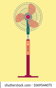 Standing Electric Fan in Flat Design