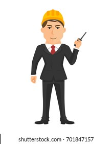 Standing engineer with radio communication in hand isolated vector on white background