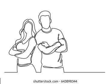 standing fitness instructors - continuous line drawing
