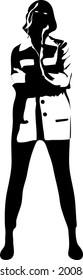 Silhouette noire fille debout isolée en blanc. Mannequin en manteau et pantalon. Joli croquis féminin