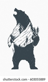 Standing grizzly bear silhouette with beautiful mountains and forest. Modern vector wilderness illustration