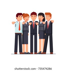 Standing group of business men & women pointing at viewer with index fingers. I want you gesture. Metaphor of hr management. Flat style vector illustration isolated on white background.