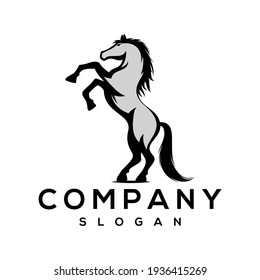 Standing horse logo vector illustration, good for mascot, delivery, or logistic, logo industry, flat color style with black.