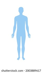 Standing human body silhouette front view. Vector illustration isolated on white background.