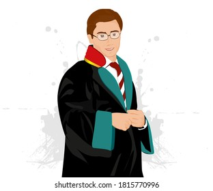 A standing lawyer, wearing his robe and in front of a white background. / Cübbesini giyinmiş, tebessüm eden bir avukat portresi