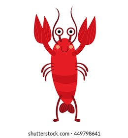 Standing Lobster animal cartoon character isolated on white background.