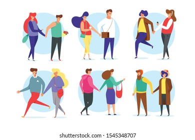 Standing lonely single girl surrounded by happy romantic couples walking together or pairs of men and women on date.