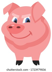 Standing male pig. Farm animal in cartoon style.