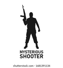 Standing male terrorist holding assault rifle gun black silhouette. Mysterious shooter icon sign or symbol concept. Bank robber. Masked murderer or killer. Radical extremism - Vector illustration.