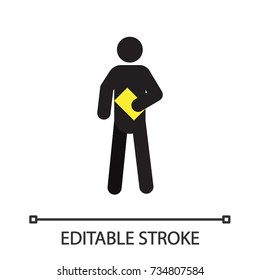 Standing man with book silhouette icon. Distributing flyers. Waiting person. Isolated vector illustration. Editable stroke