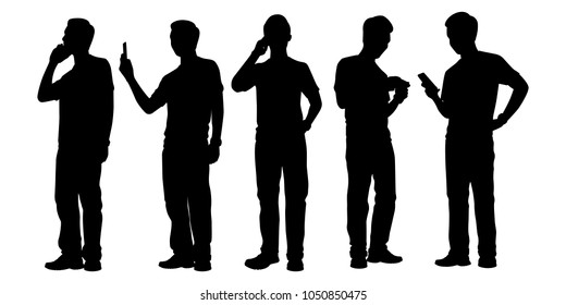 Standing man with cellphone silhouette vector set