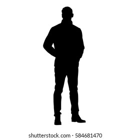 Standing man in jacket with hands in pockets, vector silhouette
