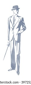 Standing man in suit and hat. Hand in pocket. Retro Clip Art. Art Deco Gatsby Epoch 1920's 1930's and 1940's Style. Vector silhouette illustration