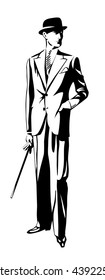 Standing man in suit and hat. Hand in pocket. Retro Clip Art. Art Deco Gatsby Epoch 1920's 1930's and 1940's Style. Vector silhouette illustration. Vintage Gentleman style