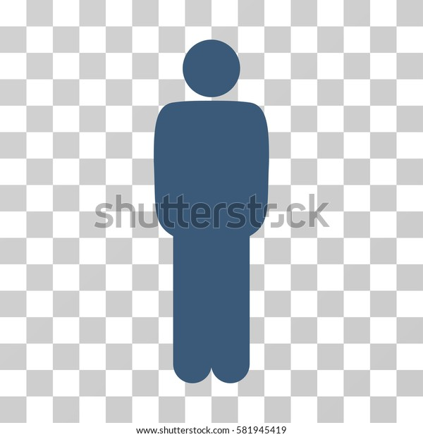 Standing Man vector pictograph. Illustration style is a flat iconic blue symbol on a transparent background.