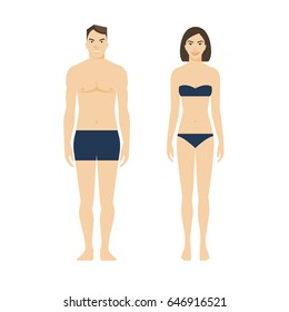 Standing man and woman in underwear, young smiling couple, flat style vector illustration isolated on white background