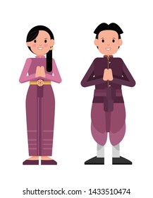 "Standing man and women in thai vintage purple costume greeting with hand in Thai tradition call ""Sawasdee"". Isolated Vector."