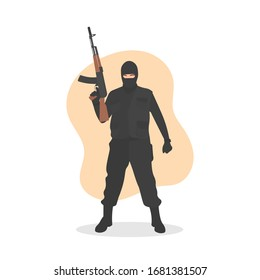 Standing masked male terrorist in black outfit holding a machine gun or AK-47. Bank robber or murderer ski mask concept. Radical extremism. Counter terrorism war - Flat vector character illustration.