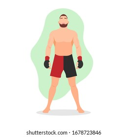 Standing muscular MMA fighter. Martial arts tournament or competition winner. Tough competitor concept. Wrestler with beard. Brazilian Jiu Jitsu. Karate master - Flat character vector illustration.