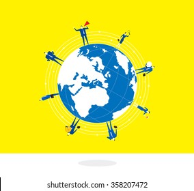 Standing on the Earth-A group of business people stand around on a globe.