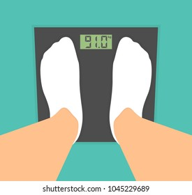 Standing on a scale. Measuring body weight concept