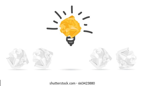 Standing out of the crowd concept. Crumpled paper as symbol of a light bulb, idea isolated on white background, vector illustration in flat design.