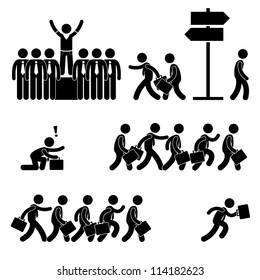 Standing Out of the Crowd Successful Business Competition Career People Stick Figure Pictogram Icon