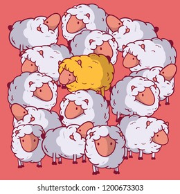 Standing out sheep vector illustration. Individuality, extraordinary, different, leadership design concept