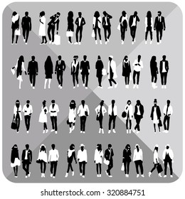Standing people silhouettes. Editable.Vector eps.Vector illustration of silhouette images.Set of black silhoeuttes.People silhouette vector.