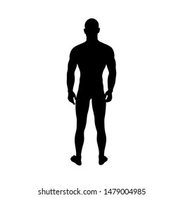 Standing Pose Man Silhouette. Very smooth and detailed. Vector illustration.