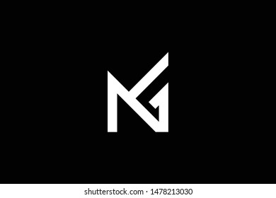 standing professional elegant trendy awesome artistic black and white color NG GN initial based Alphabet icon logo.
