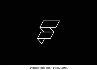 standing professional elegant trendy awesome artistic black and white color F FF FS SF initial based Alphabet icon logo.