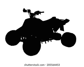 Standing Quad Bike ATV Isolated Silhouette on White