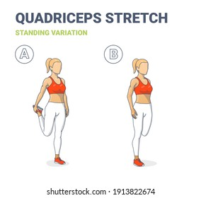 Standing Quadriceps Stretch Female Home Workout Exercise Guidance. Athletic Young Woman in Sportswear Top, Leggings, and Sneakers Does Stretching Routine on Her Quads.