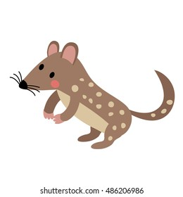 Standing Quoll animal cartoon character isolated on white background.