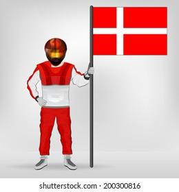 standing racer holding Danish flag vector illustration