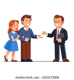 Standing realtor business man holding document folder passing keys to family couple. Giving keychain to hand. Husband taking keys from business man. Flat vector illustration isolated on white.