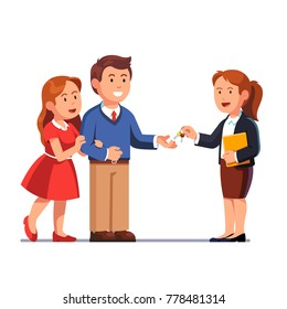 Standing realtor woman holding document folder passing keys to family couple. Giving keychain hand to hand. Man taking keys from business woman. Flat vector illustration isolated on white background.