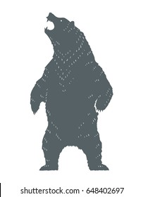 Standing and roaring bear silhouette. Monochrome vector bear logo template.