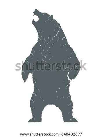 standing roaring bear silhouette monochrome vector のベクター画像