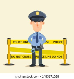Standing serious policeman near the fenced area with yellow tape. Police line do not cross. No way, crime scene. Vector illustration, flat design cartoon style. Isolated background. Front view.