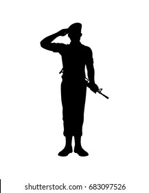 Standing soldier with rifle silhouette vector isolated on white background.