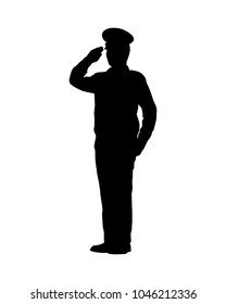 Standing soldier silhouette vector