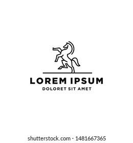 standing stallion horse pegasus unicorn logo design in line lineart linear outline style vector monoline