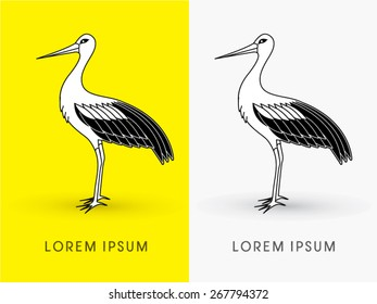 Standing Stork ,sign ,logo, symbol, icon, graphic, vector.