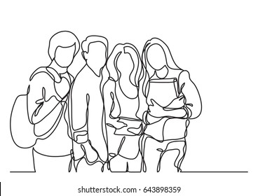 standing students - continuous line drawing